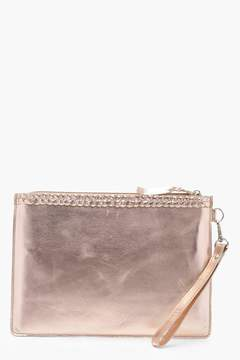 boohoo Real Leather Plait Trim Clutch