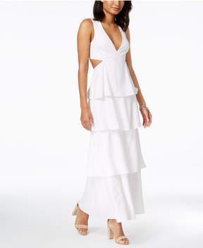 Bardot Cutout Ruffle Tiered Maxi Dress