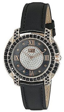Burgi Black Mother Of Pearl Dial Ladies Leather Watch