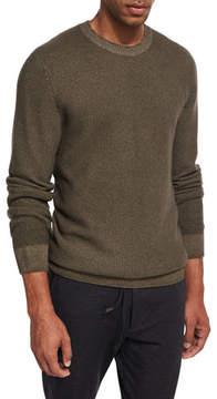Ermenegildo Zegna Waffle-Knit Crewneck Sweater, Olive (Light Green)