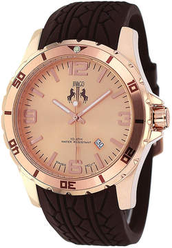Jivago Ultimate Mens Rose-Tone Dial Brown Silicone Strap Watch