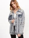Grey Ripped Button Up Boyfriend Denim Jacket