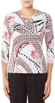 Allison Daley 3/4 Sleeve Geo Floral Print Knit Top