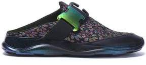 Christopher Kane Leather-Trimmed Floral-Jacquard Slip-On Sneakers