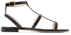 Prada Logo-embellished Textured-leather Sandals - Black
