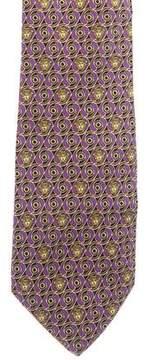 Gianni Versace Floral Medusa Print Silk Tie