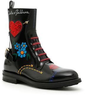Dolce & Gabbana Printed Shiny Calfskin Boy Combat Boots