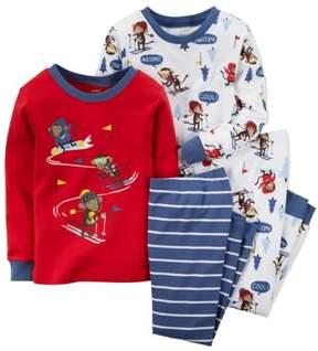 Carter's Baby Clothing Outfit Boys 4-Piece Snug Fit Cotton PJs Ski Monkey