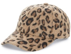 BP Women's Textured Leopard Print Baseball Cap - Brown