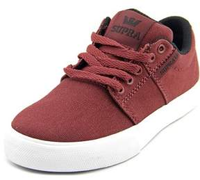 Supra Stacks Vulc Ii Youth Round Toe Canvas Burgundy Sneakers.