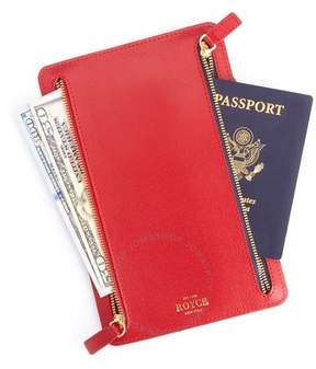 Royce Leather ROYCE RFID Blocking Zippered Currency and Passport Travel Document Organizer Pouch in Genuine Red Saffiano Leather