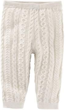 Osh Kosh Baby Girl White Cable-Knit Sweater Leggings