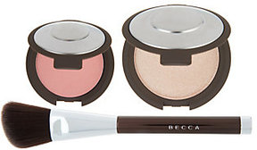 BECCA Shimmering Skin Pressed Highlighter + Blush w/ Brush