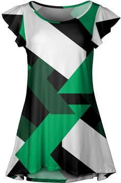 Lily Green & Black Geometric Flutter-Sleeve Tunic - Women & Plus