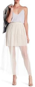 ABS by Allen Schwartz Pleated Crochet Lace Dotted Skirt