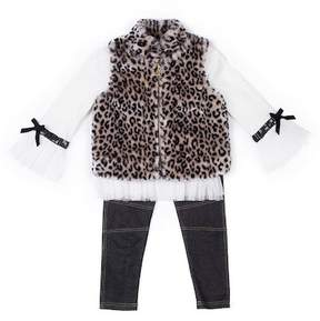 Nicole Miller Tulle Trim Top, Leopard Print Faux Fur Vest & Legging Set (Toddler Girls)