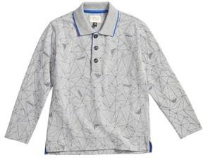 Armani Junior Boy's Geo Print Long Sleeve Polo