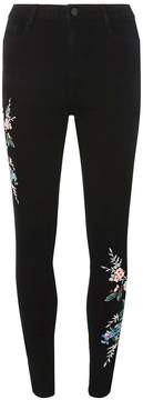 Dorothy Perkins Black Floral Embroidered Skinny Jeans