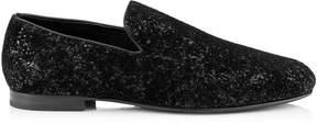 Jimmy Choo SLOANE Black Velvet Glitter Devore Slippers