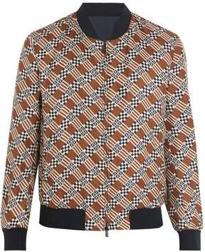Fendi Logo damier-print reversible silk bomber jacket