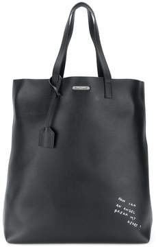 Saint Laurent slogan print shopper tote - BLACK - STYLE