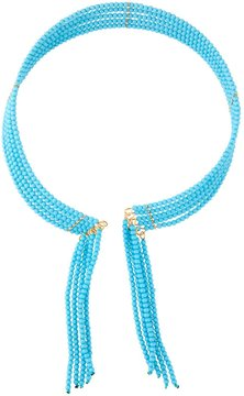 Fragments for Neiman Marcus Seed Bead Fringed Choker Necklace, Turquoise