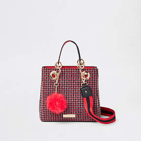 River Island Red check square mini tote bag