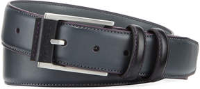 Robert Graham Men's Embossed-Buckle Brushed Leather Double-Loop Belt