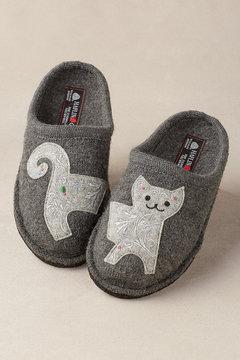 Haflinger Best Friend Slippers - Cat (grey)