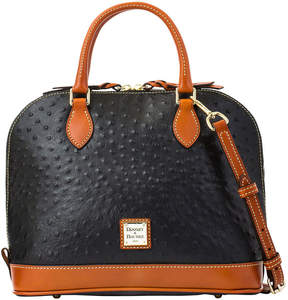 Dooney & Bourke Ostrich Zip Zip Satchel - BLACK - STYLE