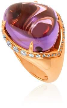 Bvlgari Sassi 18K Yellow Gold Amethyst Ring- Size 9