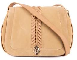 Roberto Cavalli Solid Tan Suede Cross Body Saddle Snake Bag