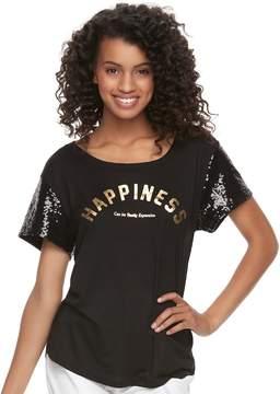 Fifth Sun Juniors' Happiness Sequin Sleeve Graphic Tee