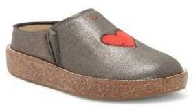 ED Ellen Degeneres Tillie Embroidered Heart Leather Mules