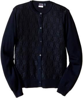 Nautica Girls Plus Lace Front Cardigan Girl's Sweater