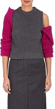 Calvin Klein Women's Contrast-Sleeve Wool Sweater