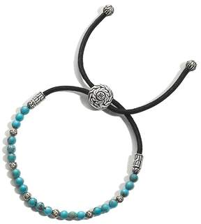 John Hardy Men's Sterling Silver Classic Chain Round Beads Bracelet with Turquoise