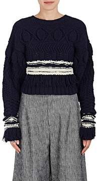 Derek Lam Women's Fringe Wool-Silk Crop Sweater