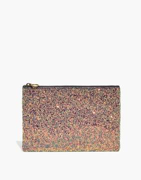Madewell The Leather Pouch Clutch in Glitter