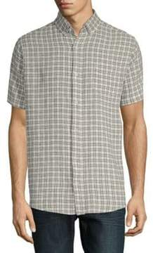 Saks Fifth Avenue BLACK Short-Sleeve Plaid Shirt