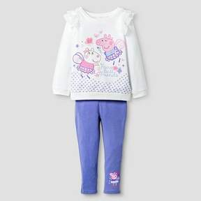 Peppa Pig Toddler Girls' Top And Bottom Set - Light Off White