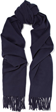 Acne Studios Canada Narrow Fringed Wool Scarf - Navy