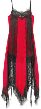 Christopher Kane Lace-trimmed Silk-chiffon Dress - Red