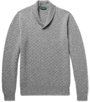 Incotex Shawl-Collar Textured Virgin Wool Sweater