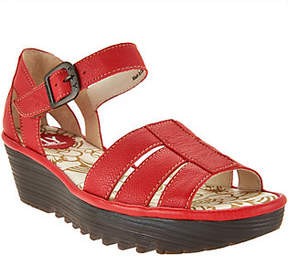 Fly London Leather Triple Strap Wedge Sandals -Rese