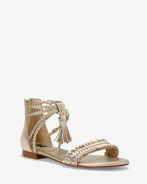 White House Black Market Gold Braided Leather Sandals