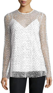 Camilla And Marc Long-Sleeve Mesh Tunic, Black/White