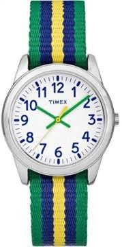 Timex Boys' Time Machines Analog Metal Watch, Green/Blue/Yellow Striped Elastic Fabric Strap