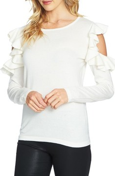CeCe Women's Ruffled Cold Shoulder Sweater