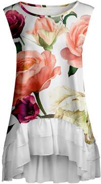 Lily White & Pink Rose Ruffle-Hem Sleeveless Tunic - Women & Plus